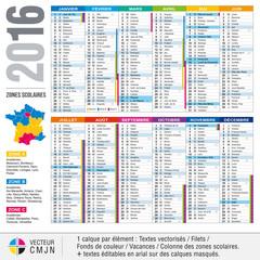 Calendrier français 2016 avec vacances scolaires et zones académiques