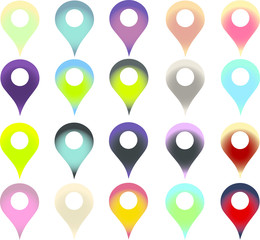 Obraz Set of vector map markers with various colors - fototapety do salonu