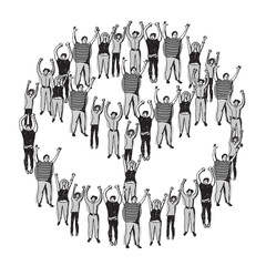 Symbol peace crowd happy people meeting monochrome