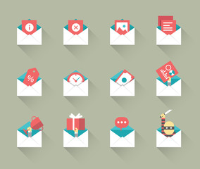 Email concept icons. flat design with shadow. vector