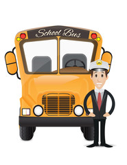 school bus and bus driver illustration 2