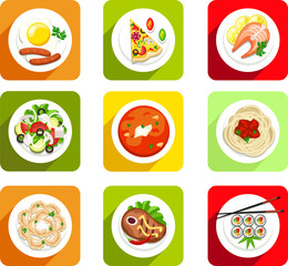 vector, food, icon flat, top view, scrambled eggs, sausages, pizza, fish, salmon, salad, soup, soup, pasta, dumplings, meat, steak, sushi, meal, breakfast, lunch, dinner