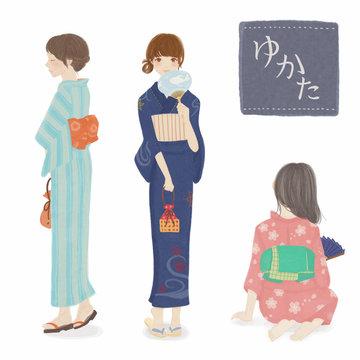 浴衣を着た女性 Woman wearing a yukata.