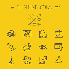 Music and entertainment thin line icon set