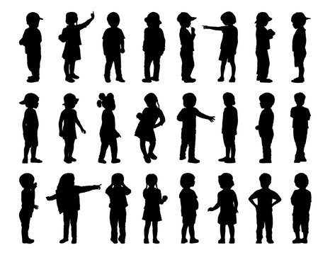 big set of children standing silhouettes 1