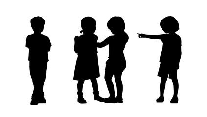 children standing silhouettes set 6