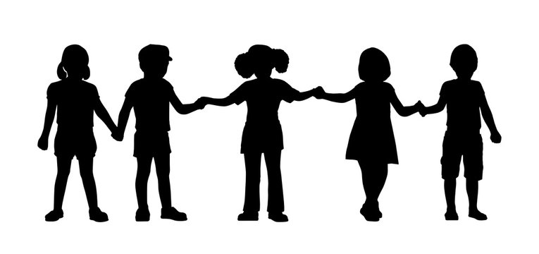 children standing silhouettes set 8
