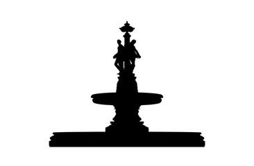 classic style old fountain with statues silhouette