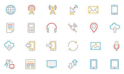 Communication Colored Outline Vector Icons 1