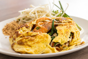 Pad Thai Food, Stir fry noodles with shrimp.
