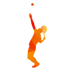 Abstract orange geometrical vector tennis player