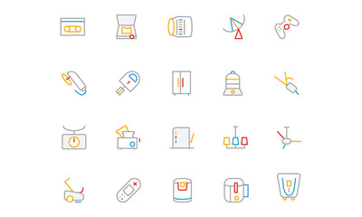 Electronics and Devices Colored Outline Icons 7