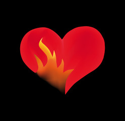Fire heart on black background illustration