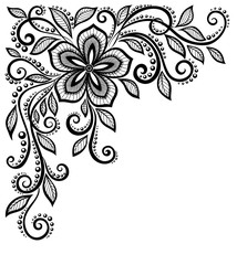 beautiful black-and-white lace flower in the corner. With space for your text and greetings