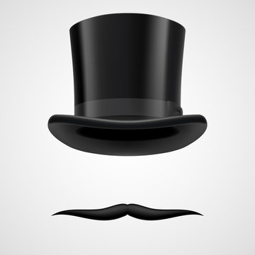 moustaches and stovepipe hat victorian gentleman