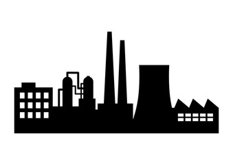 Black factory icon on white background