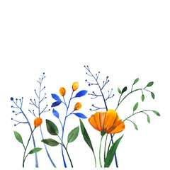 Watercolor doodle with yellow flowers and herbs