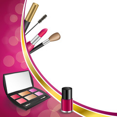 Background abstract pink cosmetics make up lipstick mascara eye shadows nail polish gold ribbon frame illustration vector