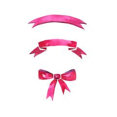Watercolor vector ribbons set