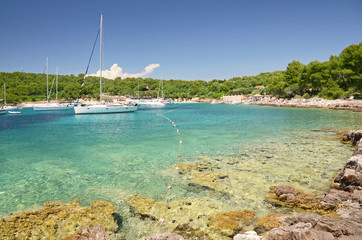 Yachts anchored by Pakleni or Paklinski islands, Hvar, Croatia