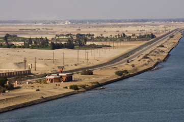 Military Camp Post along Suez Canal, Egypt