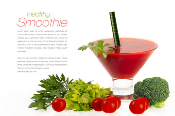 Smoothie with Fresh Vegatables. Healthy Eating and Diet Concept