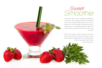 Healthy Dieting. Sweet Smoothie with Fresh Fruit and Herbs