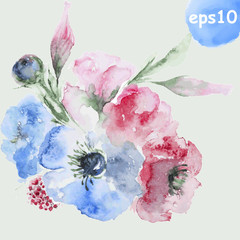 watercolor flower 14,9