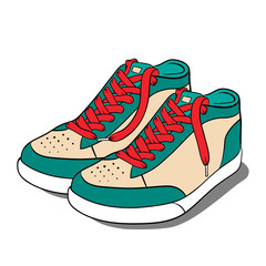 Sport shoes, sneakers. Vector illustration