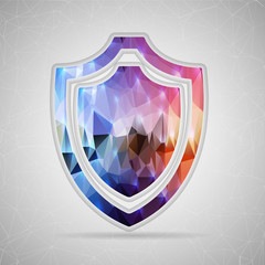 Abstract Creative concept vector icon of shield for Web and