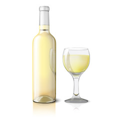 Blank realistic bottle for wine with glass isolated on white