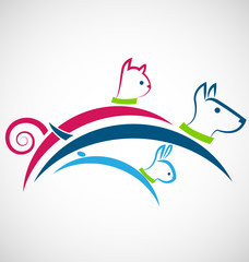 Cat dog and rabbit jumping together logo