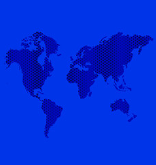 Blue dots world map info-graphics vector