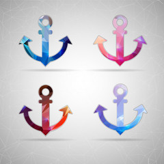 Abstract Creative concept vector icon of anchor for Web and