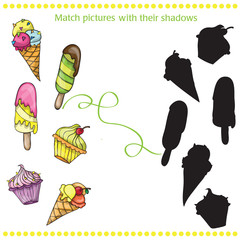 Colorful tasty cartoon ice cream - match the pictures- game for