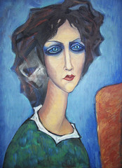 Acrylic colorful painting. Canvas. Portrait of long-necked blue-eyed woman in a green dress with a white collar  at the easel on a blue background. Interior decor.