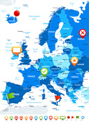 Europe - map and navigation icons - illustration.Image contains next layers: land contours, country and land names, city names,water object names, navigation icons.