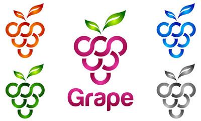 grape, plant, fruit, wine, agriculture, vector, logo Fototapete
