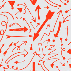Hand drawn vector red arrow seamless pattern