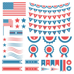 Collection of United States of America decoration elements. Four