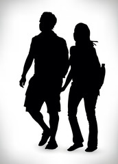 Black silhouette of a couple isolated on a white background