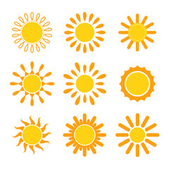 Set of vector suns. Sun icons