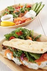 smoked salmon salad flatbread