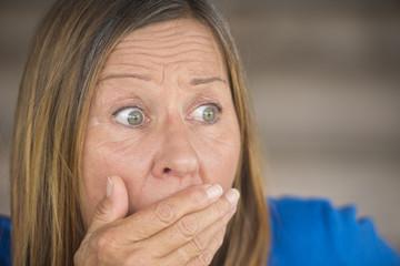 Upset shocked anxious woman portrait