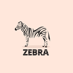 Artistic stylized zebra icon. Silhouette wild animals. Creative art logo design. Vector illustration.