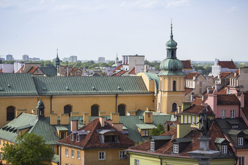 Top view of the roofs of the houses in the historic centre of Warsaw.