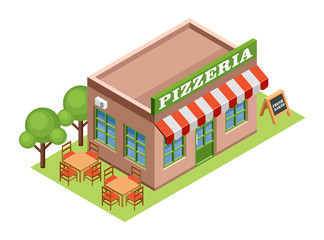 Isometric pizzeria.