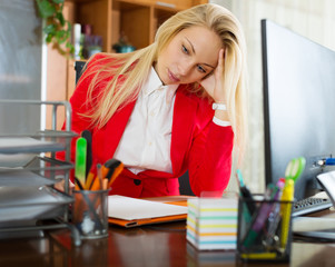girl working at office