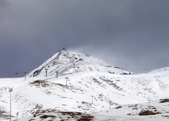 Ski slopes in little snow year at bad weather day