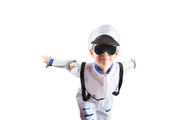 Little boy pretend as an astronout pilot